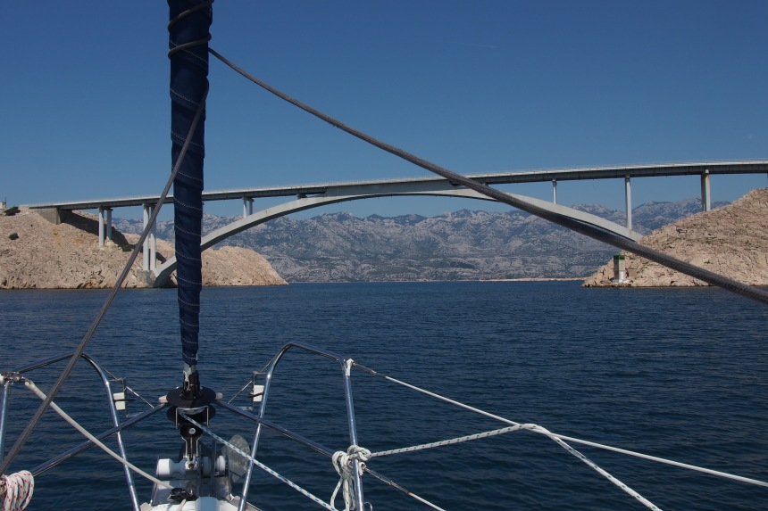 Ljubacka Vrata diving Pag and the mainland. It's the gateway to the Velebit Straight, a door to a beautiful area. From this point onward we saw very few other sailing yachts.