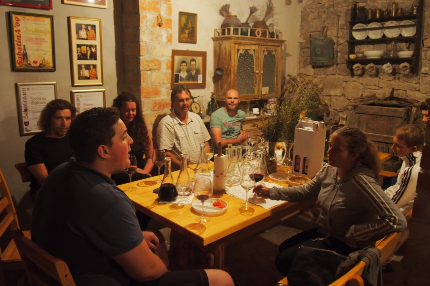 The locals sing Croatian songs to us at the local wine bar. This place has a great rustic feel and all the wine is produced locally. You'll pay £3 for a bottle and it's very drinkable. We had a very warm welcome here.