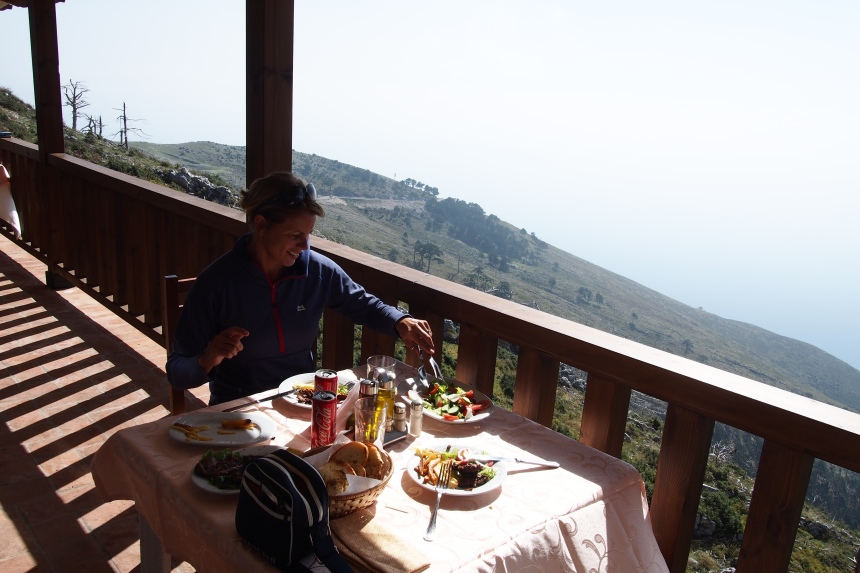 Food with a view. Eating at the top of the Llagora Natioanal Park