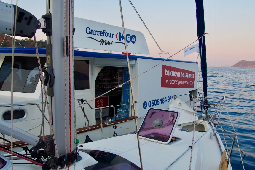 Rafted up next to Carrefour